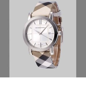 Burberry leather check strap watch